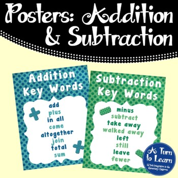 addition and subtraction key words poster anchor chart by