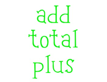 Addition Key Words for Word Problems