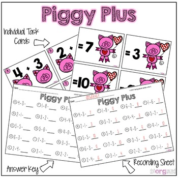 Addition to 10 Kindergarten February Math Center Task Cards