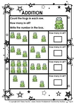 Addition-Counting the Objects & Writing the Sum - Kindergarten
