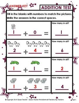 Addition-Print Number Sentence to Match Pictures Kindergarten/Grade 1/1st Grade