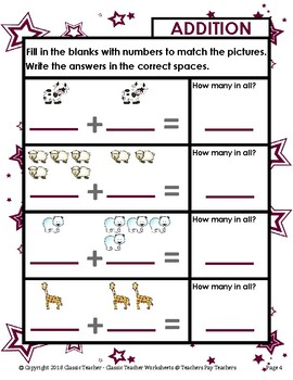 Addition-Print Number Sentence to Match Pictures ...