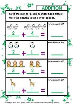 Addition-Solve Number Problem Under Each Picture Kindergarten