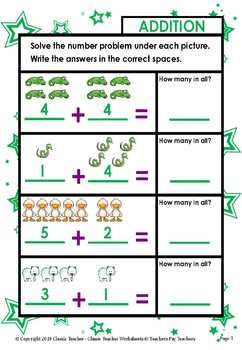 Addition-Solve Number Problem Under Each Picture Kindergarten