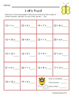 No Prep Addition Against the Clock K-2