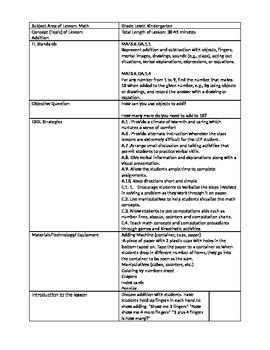 Addition Lesson Plan-Kindergarten