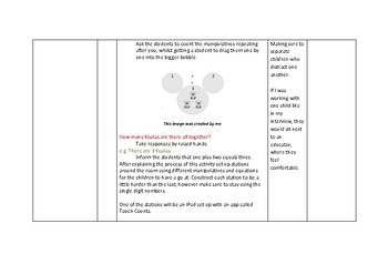 Addition Lesson Plan / Kindergarten