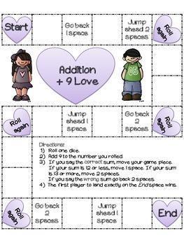 Addition Love: 22 Valentine's Day Board Games (color and black/ white versions)