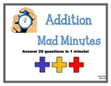 Mad Minute Addition - Answer 20 Questions in 1 Minute!