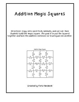 Magic Squares Puzzle Teaching Resources Teachers Pay Teachers