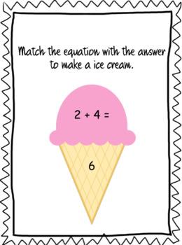 Addition Match Ice Cream 0-10