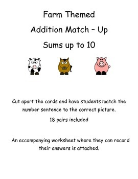 Addition Match Up Center - Sums up to 10 - Farm Themed
