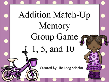 Addition Match Up Memory Game 1,5,10