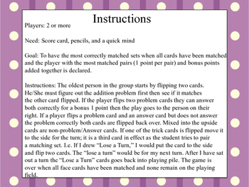 Addition Match Up Memory Game 2,3,4