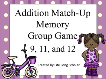 Addition Match Up Memory Game 9,11,12