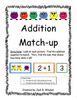 Addition Match Up- Picture, Equation, Sum