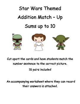 Addition Match Up - Star Wars Theme