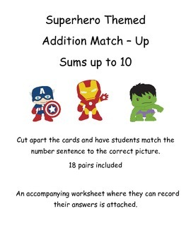 Addition Match Up - Sums up to 10 - Superhero Themed