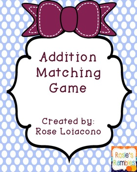 Addition Matching Game