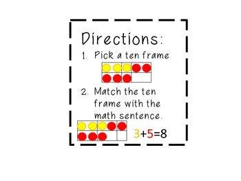 Addition Matching Game: Match Ten Frame with Math Sentence