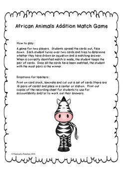Addition Matching Partner Game - no regrouping