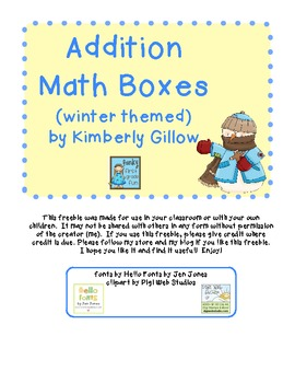 Addition Math Boxes (Winter Themed)
