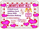 Valentine's Addition Math Card Game With Problem Solving