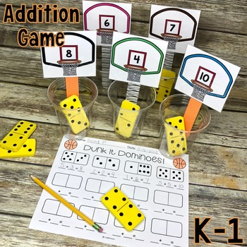 Addition Math Center Game {DUNK IT DOMINOES}