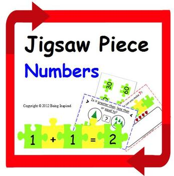 Addition Math Center - Numbers and Symbols on Jigsaw Pieces