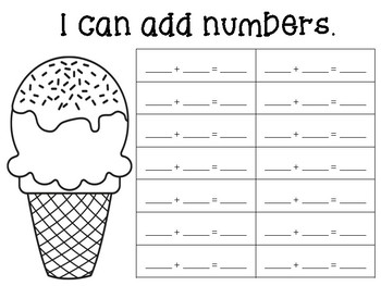 Addition Math Center for Kindergarten