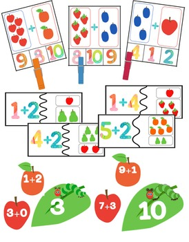Addition Math Centers & Activities: Adding up to 10 Caterpillar Themed