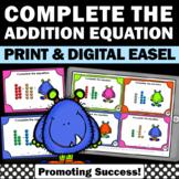Base Ten Blocks Addition Task Cards, Kindergarten Math Centers or Stations