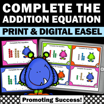 Math Addition Facts Up to 20 Task Cards Kindergarten MAB M