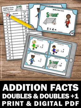Doubles Facts, Addition Task Cards, 1st Grade Math Review Games SCOOT