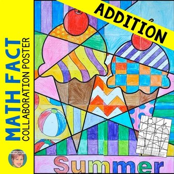 End of the Year Activity: Summer-themed ADDITION Review Collaborative Poster