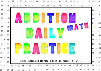 Addition Math Daily Practice 500 Questions For Grade 1, 2, 3