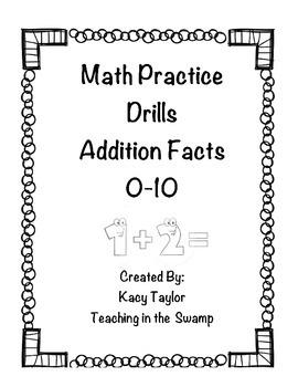 Addition Math Drills Facts 0-10