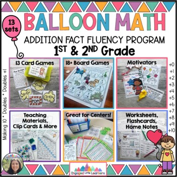 Math Fact Fluency BALLOON MATH Growing BUNDLE  Addition ALL YOU NEED!