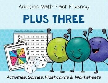 Addition Math Fact Fluency: Plus Three (+3)