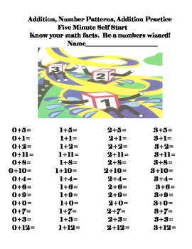 Addition Math Facts 5 Minute Self Start