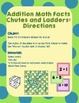 Addition Math Facts Chutes and Ladders - Chutes and Ladder