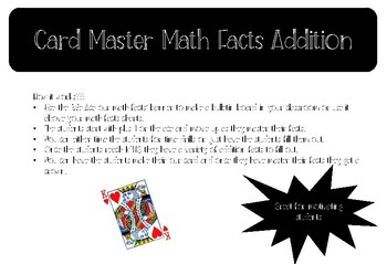 Addition Math Facts Drills Card Master