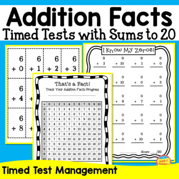 Addition Math Facts -- Flash Cards, Tracking Page, Timed Tests, and Brag Tags!