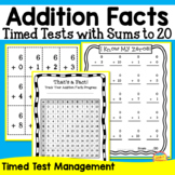 Addition Facts -- Flash Cards, Tracking Page, Timed Tests,