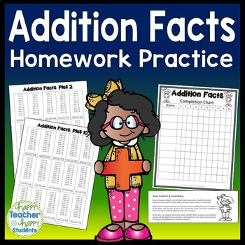Addition Facts: Addition Homework Practice for +1 thru +10