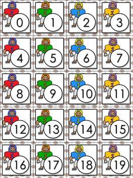 Addition Math Facts Matching Game - Football