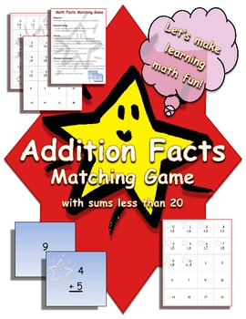Addition Math Facts Matching Game - King Virtue