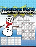 Addition Math Facts Matching Game - Winter Snowman