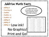 Addition Math Facts--One set of problems per strategy PLUS