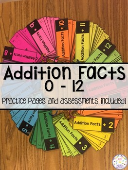 Addition Math Facts Practice Activities 0-12 Distance Learning